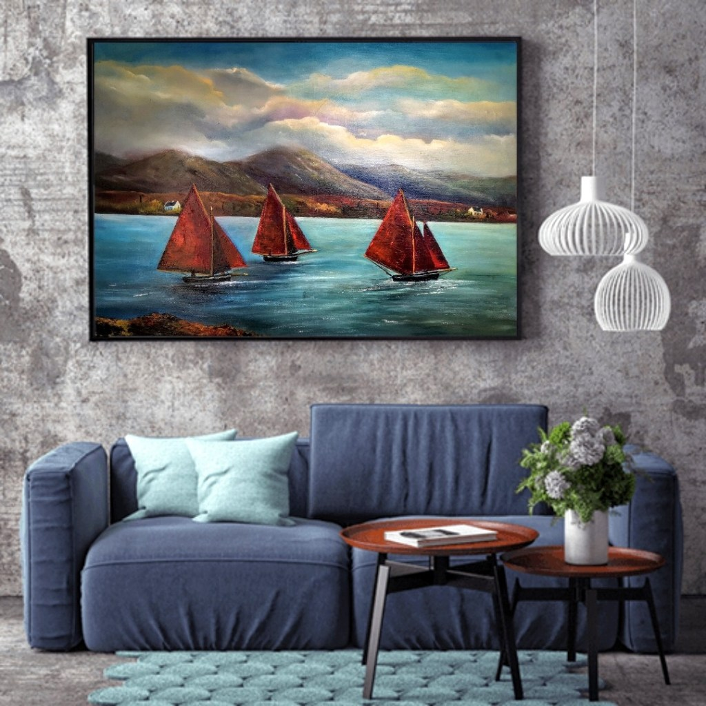 Galway Hookers Set Sail oil painting in a room setting