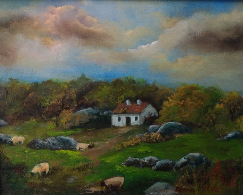 Pearse Cottage Galway oil painting of Padraig Pearse cottage in Galway