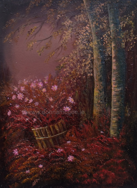 Evening forest walk oil on canvas