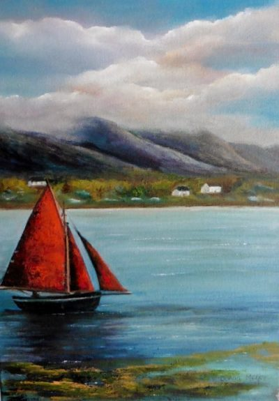 The Lone Rider galway hooker oil painting