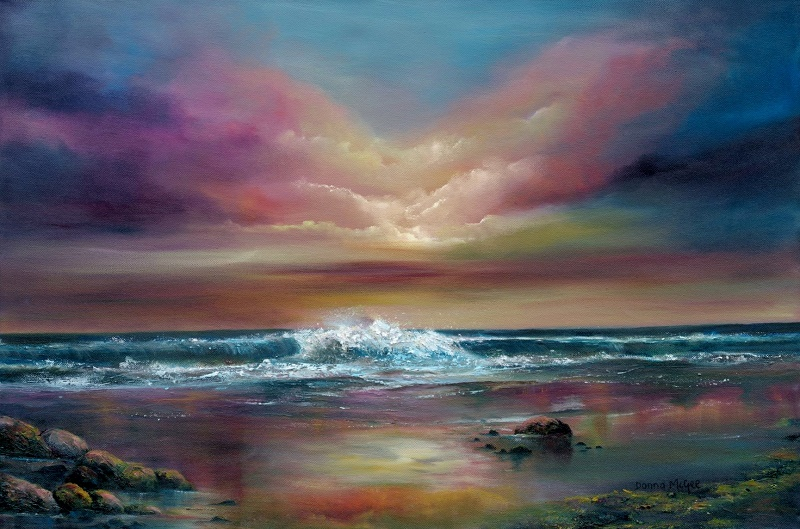 World-at-Peace-20x30-Oil-on-Canvas.jpg, colourful skies, seascape with rolling waves, rocks by the shore