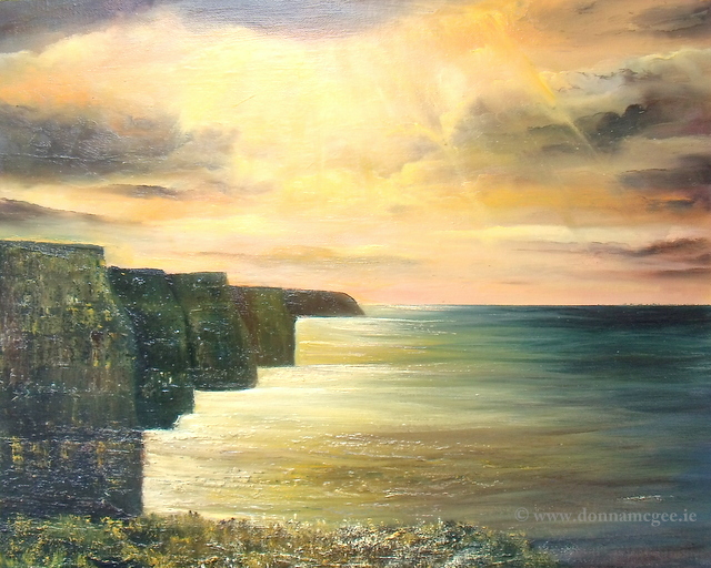 The Cliffs of Moher oil painting with a yellow sunburst