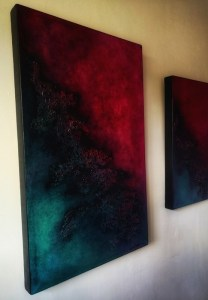 chimera room view abstract paintings diptych