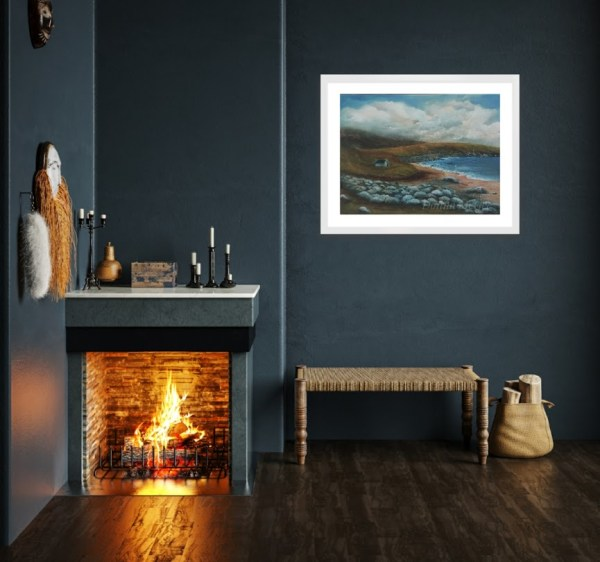 keem bay original oil painting in a room setting of an Irish landscape in Achill Island