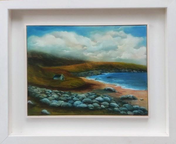 keem bay achill island oil painting in frame - irish landscape