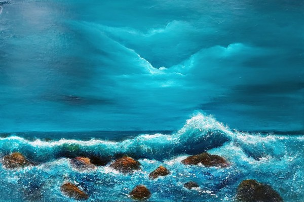 Light of the moon oil painting where the light hits the crest of the wave