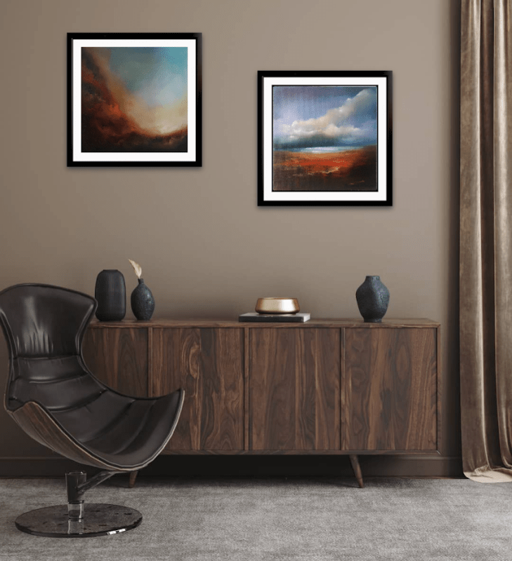 Transcendence Series of oil paintings abstract in room setting