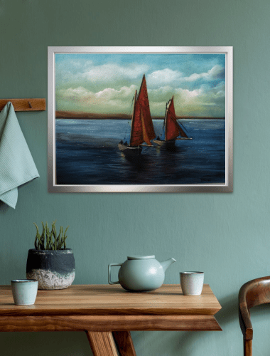 Galway Hooker Boats in room setting