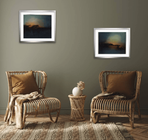 ember glow series of abstract oil paintings in room setting