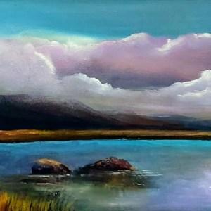 twelve bens galway 24 x 8 inches oil on canvas - irish landscape art