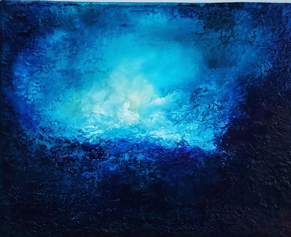 blue chasm abstract oil painting