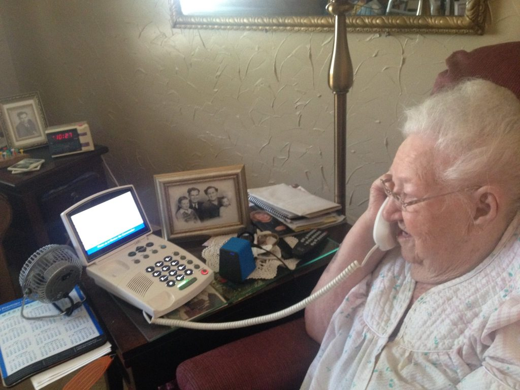 Captioned Telephones from Captel for the elderly and those who can't hear on the phone.