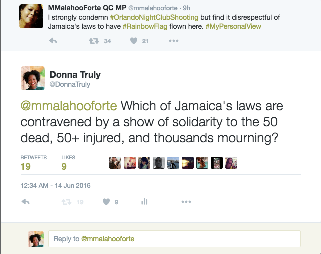 Marlene Malahoo-Forte's tweet in question