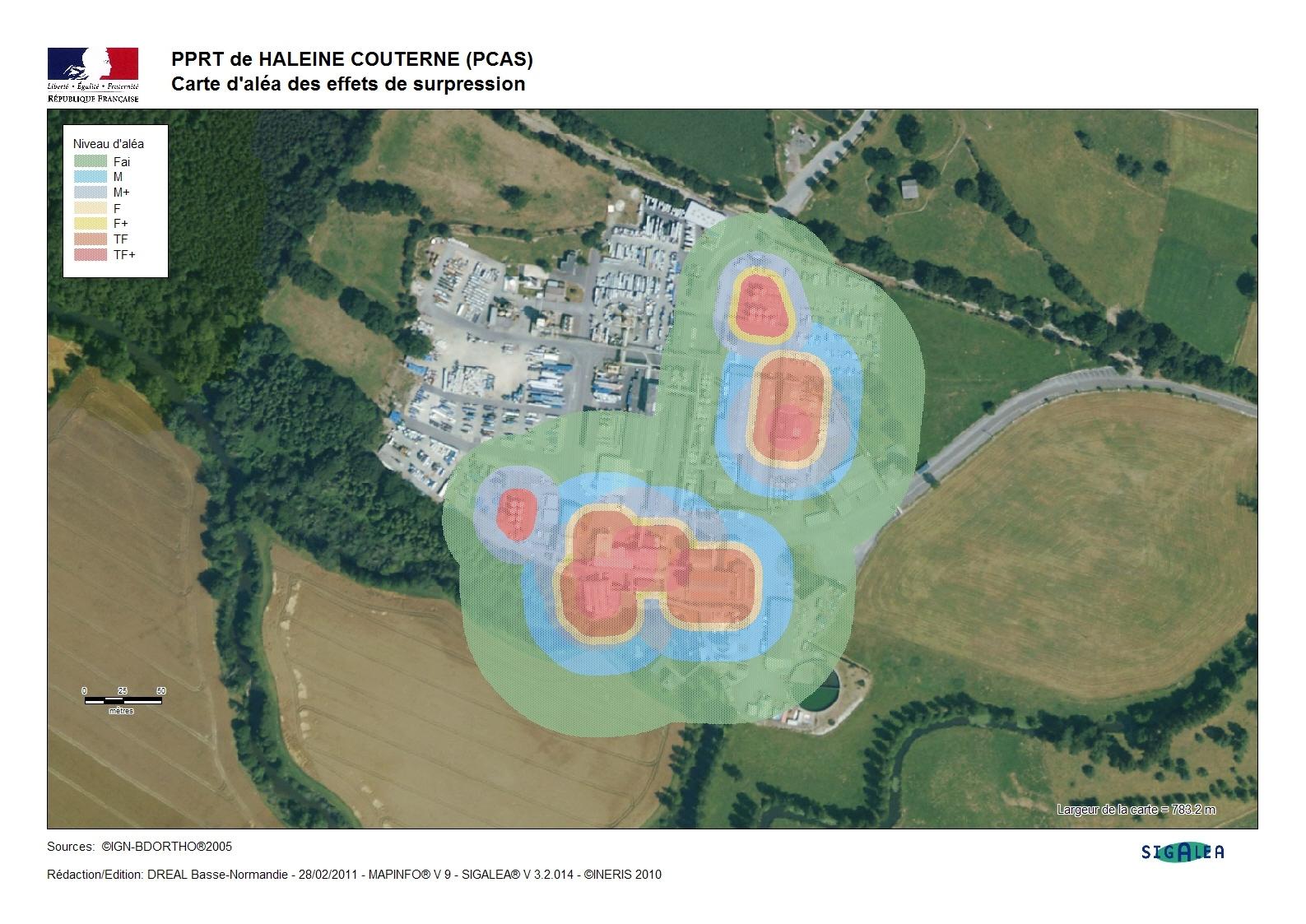 Exemple de carte des aléas pour un site chimique (ici isolé)