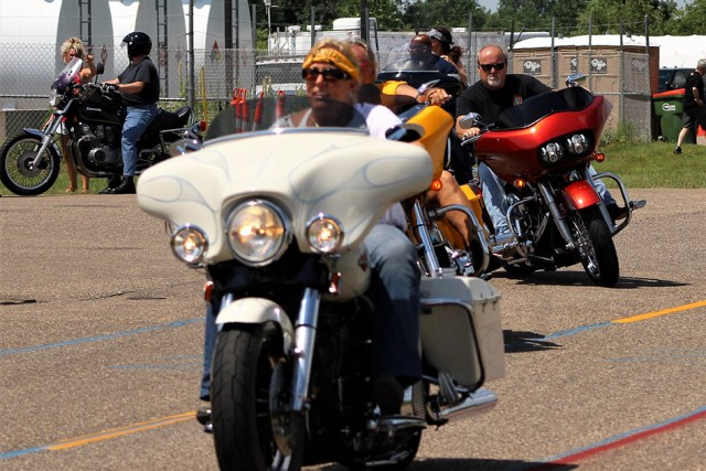Patty Mesenbrink riding in the Patriot Ride