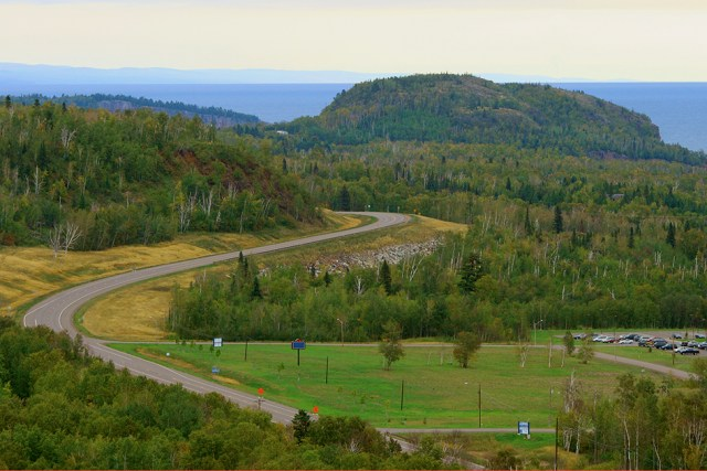 North Shore Scenic Byway on the Shore of Lake Superior in Minnesota