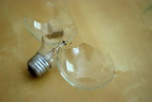 Photo of a broken lightbulb. The Metropolitan Police pay up to £100 a time to replace broken lightbulbs.