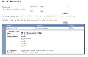 Screenshot of Daniel Fitzsimmons, FCILEx listing on CILEx's website.