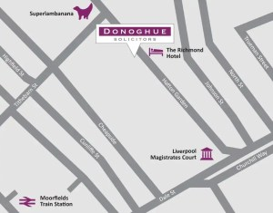 Map of Donoghue Solicitors new offices at 25 Hatton Garden, Liverpool, L3 2FE.
