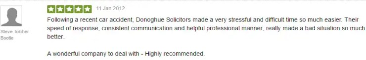 Freeindex testimonial for Donoghue Solicitors by Steve Tolcher