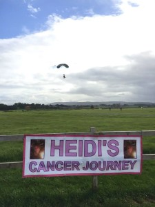 Photo of Hannah Bickley landing after her parachute jump.