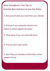 Kevin Donoghue's five tips to find the best solicitors in actions against the police claims