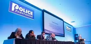 Photo of solicitor Kevin Donoghue (centre) who discusses restraint post-incident procedures at the PFEW seminar on 16 October 2018.