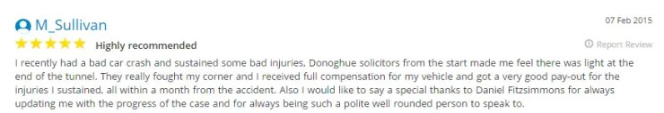 Yell.co.uk reviews from M Sullivan, a client of Donoghue Solicitors.