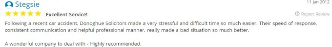 Yell.co.uk testimonial by Stegsie for Donoghue Solicitors about his road traffic accident claims.