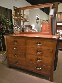 Providence Tall Dresser with Mirror Wood Species Shown: Brown Maple Fully Customizable. Please contact us for pricing details.