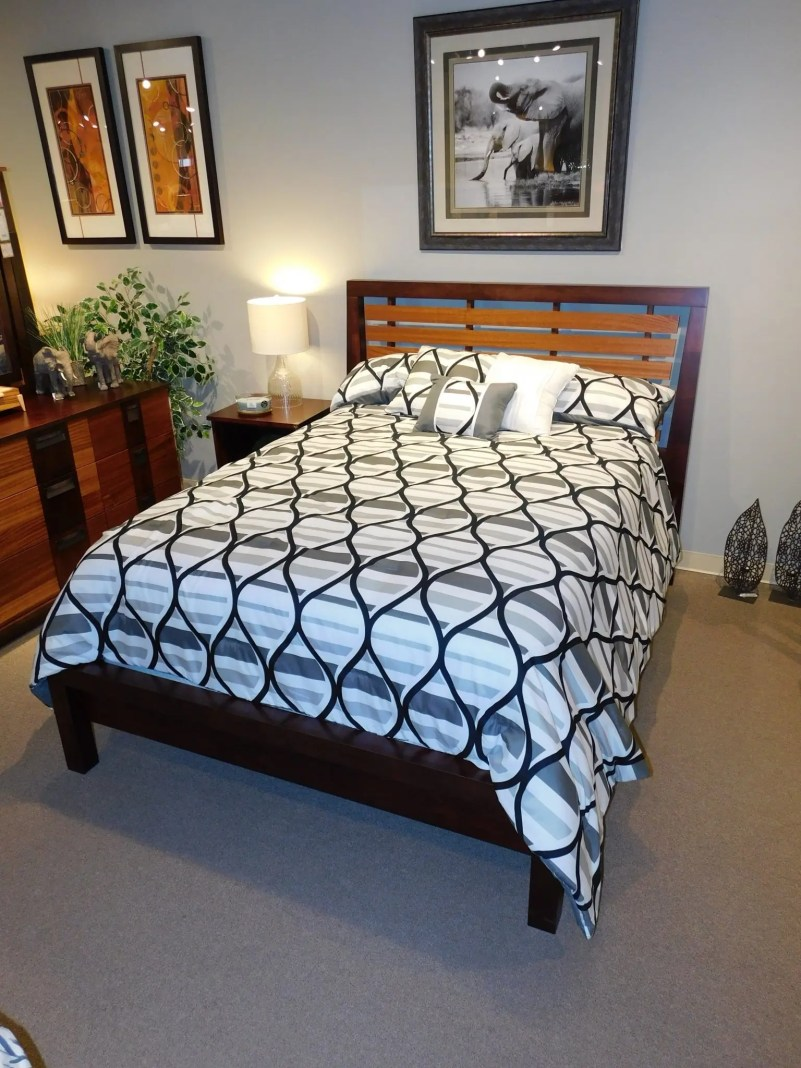 Marquette Slat Bed Wood Species Shown: Brown Maple / Ribbon Sapele Size Shown: Queen Price As Shown*: $1,695 Fully Customizable. *Price of piece is not inclusive of current sales. Please see our Pricing page for more details.