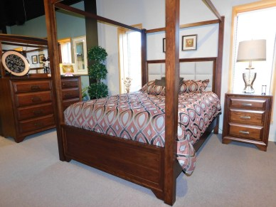 Grand River Bedroom with Poster Bed and Canopy Wood Species Shown: Sap Cherry Fully Customizable.