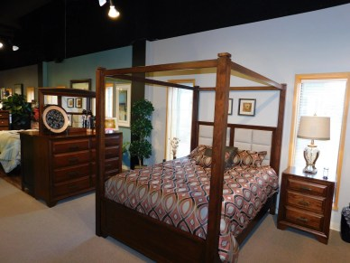 Grand River Poster Bed with Canopy Wood Species Shown: Sap Cherry Size Shown: Queen Fully Customizable. Please contact us for pricing details.
