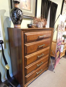 """Grand River 5-Drawer Chest Wood Species Shown: Sap Cherry Dimensions: 38""""W x 52""""H x 21""""D Fully Customizable. Please contact us for pricing details."""