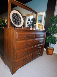 "Grand River Tall Dresser and Grand River Dresser Mirror with Plain Glass Wood Species Shown: Sap Cherry Dimensions: 58""W x 44""H x 21""D and 50""W x 29""H Price As Shown*: $2,530 and $430 Fully Customizable. *Price of piece not inclusive of current sales. Please see our Pricing page for more details."