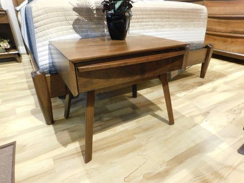 "Cambridge Mid-Century Modern Tall Leg Nightstand Wood Species Shown: Sap Cherry Dimensions: 24""W x 20""H x 18""D Price As Shown*: $640 Fully Customizable. *Price of piece not inclusive of current sales. Please see our Pricing page for more details."