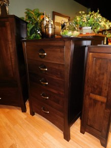 """Providence 5-Drawer Chest of Drawers Wood Species Shown: Brown Maple Dimensions: 34""""W x 20.75""""D x 50.25""""H Price As Shown*: $1,542 Fully Customizable. *Price of piece not inclusive of current sales. Please see our Pricing page for more details."""