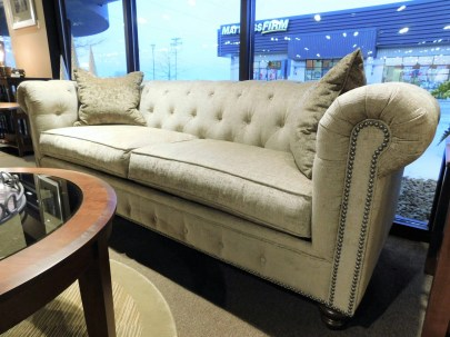 "Philip Sofa and Pillows Fabric Shown: Gr. 15 #2665 Xanadu Putty Pillow Fabric Shown: Gr. 15 #2664 Xanadu Cafe Special Feature: 3/8"" Pewter Nailhead Price As Shown*: $2,050 Partially Customizable. *Price of piece not inclusive of current sales. Please see our Pricing page for more details."