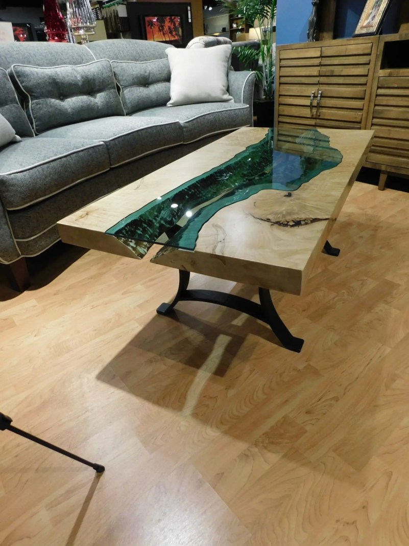 River Coffee Table with Live Edges under Teal Glass OUR DESIGN! THIS SPECIFIC COFFEE TABLE IS NOT CURRENTLY FOR SALE. Inquiries about ordering your own always welcome; please contact a salesperson.