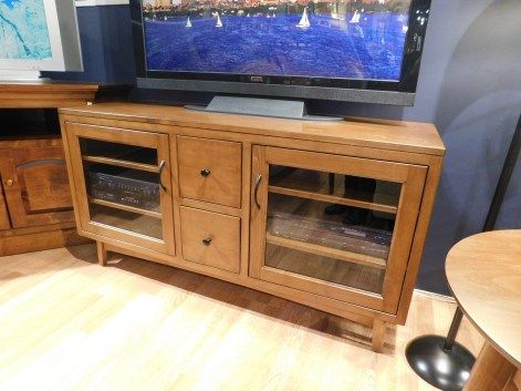 "Lodi TV Stand Wood Species Shown: Brown Maple Dimensions: 56""W x 20""D x 30""H Price As Shown*: $1,382 Fully Customizable. *Price of piece not inclusive of current sales. Please see our Pricing page for more details."