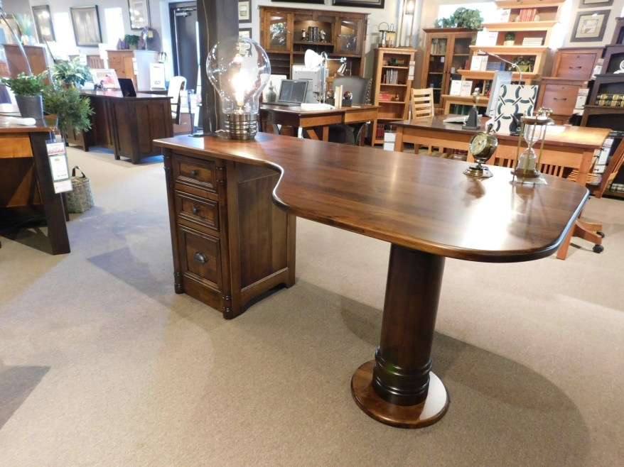 """Belmont Pedestal Desk Wood Species Shown: Brown Maple Dimensions: 66""""W x 36""""D x 31""""H Fully Customizable. Please contact us for pricing details."""