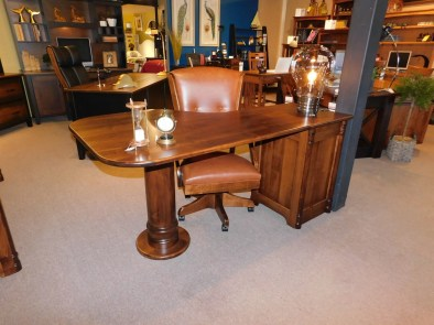 Belmont Pedestal Office Wood Species Shown: Brown Maple Fully Customizable. Please contact us for pricing details.