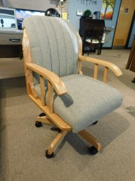 Delray Arm Desk Chair with Gas Lift Base Wood Species Shown: Oak Fabric Shown: Cripton C2-3 Mink Partially Customizable. Please contact us for pricing details.