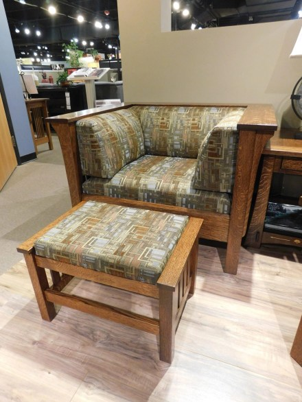 Mission Chair with Slats and Mission Ottoman Wood Species Shown: Quartersawn White Oak Fabric Shown: #7991 Q Price As Shown*: $1,918 and $545 Partially Customizable. *Price of piece not inclusive of current sales. Please see our Pricing page for more details.