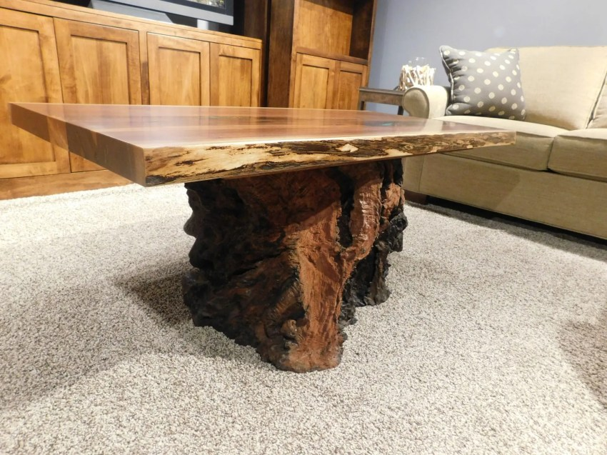 Live Edge Coffee Table with Stump Base & Stone Inlay with Clear Fill Wood Species Shown: Rustic Walnut (top), Salvaged Redwood Stump (base) One of a Kind. Please contact us for pricing details.