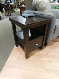 "Highland End Table Wood Species Shown: Brown Maple Dimensions: 19""W x 19""D x 24.5""H Price As Shown*: $465 Fully Customizable. *Price of piece not inclusive of current sales. Please see our Pricing page for more details."