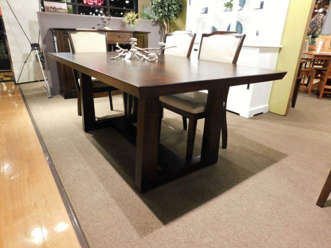 """Central Park Solid Top Table Wood Species Shown: Brown Maple Dimensions: 42""""W x 72""""L Fully Customizable. Shown with Palmer Chairs. Please contact us for pricing details."""