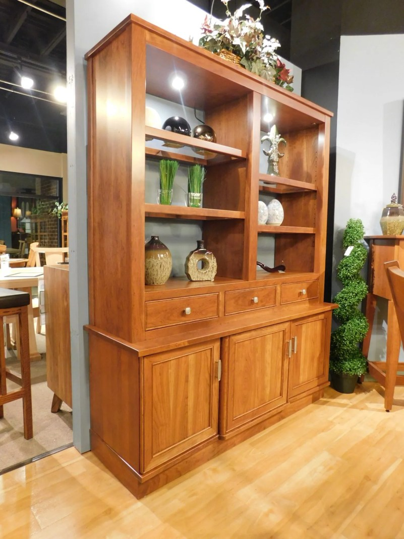 "Orchid Heights Hutch with LED Lighting Wood Species Shown: Sap Cherry Dimensions: 61.25""W x 20""D x 76""H Price As Shown*: $3,862 Fully Customizable. *Price of piece not inclusive of current sales. Please see our Pricing page for more details."