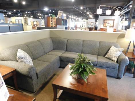 "McClain Sectional Sofa Fabric Shown: Gr. 15 Dimensions: shown in 3x4 style; 88""L1 x 112""L2 x 36""D Price As Shown*: $2,762 Fully Customizable. *Price of piece not inclusive of current sales. Please see our Pricing page for more details."