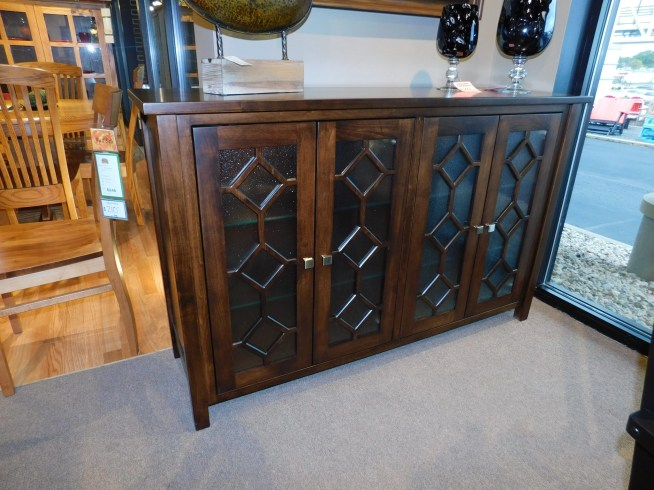 """Hayden Buffet with Special Glass Doors Wood Species Shown: Brown Maple Dimensions: 60""""W x 18""""D x 38""""H Fully Customizable. Please contact us for pricing details."""